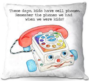 Decorative Outdoor Patio Pillow Cushion | Marley Ungaro - Toys Telephone | Childlike Toys Retro Fun Telephone