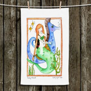 Unique Hanging Tea Towels | Marley Ungaro - Traveling Mermaid | Cute Mermaid Artwork
