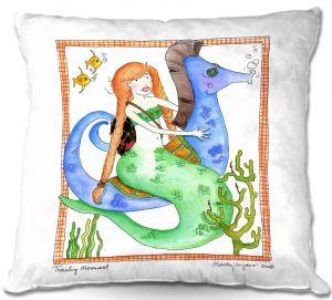 Decorative Outdoor Patio Pillow Cushion | Marley Ungaro - Traveling Mermaid