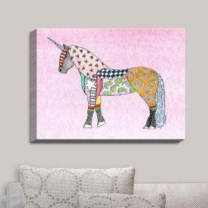 Decorative Canvas Wall Art | Marley Ungaro - Unicorn Pastel Pink | Fantasy Make Believe Child Like Animals
