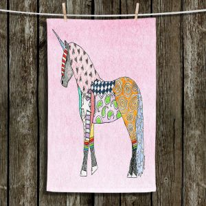 Unique Hanging Tea Towels | Marley Ungaro - Unicorn Pastel Pink | Fantasy Make Believe Child Like Animals