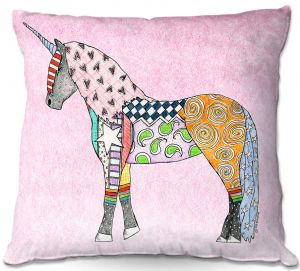 Decorative Outdoor Patio Pillow Cushion | Marley Ungaro - Unicorn Pastel Pink