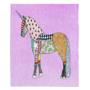 Decorative Fleece Throw Blankets | Marley Ungaro - Unicorn Pastel Violet