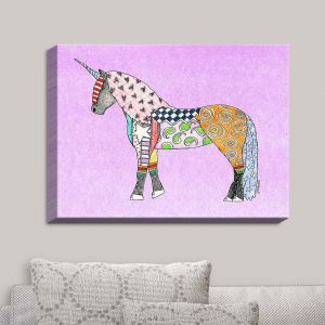 Decorative Canvas Wall Art | Marley Ungaro - Unicorn Pastel Violet | Fantasy Make Believe Child Like Animals
