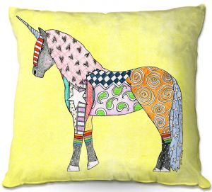 Throw Pillows Decorative Artistic | Marley Ungaro - Unicorn Pastel Yellow