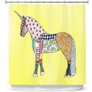 Premium Shower Curtains | Marley Ungaro - Unicorn Pastel Yellow