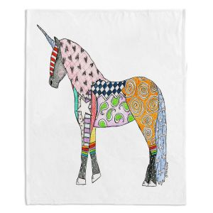 Decorative Fleece Throw Blankets | Marley Ungaro - Unicorn White