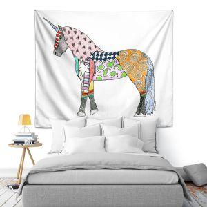 Artistic Wall Tapestry | Marley Ungaro - Unicorn White