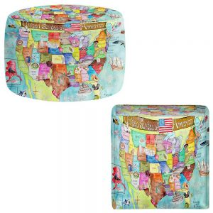 Round and Square Ottoman Foot Stools | Marley Ungaro - United States MAP Turquoise