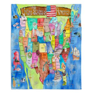 Artistic Sherpa Pile Blankets | Marley Ungaro United States MAP Royal Blue
