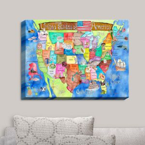 Decorative Canvas Wall Art | Marley Ungaro - United States MAP Royal Blue
