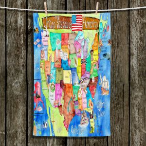Unique Hanging Tea Towels | Marley Ungaro - United States MAP Royal Blue | USA Map