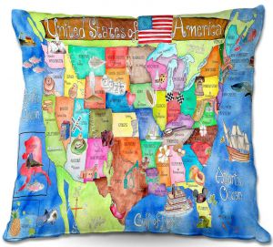 Decorative Outdoor Patio Pillow Cushion | Marley Ungaro - United States MAP Royal Blue