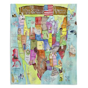 Decorative Fleece Throw Blankets | Marley Ungaro - United States MAP Turquoise