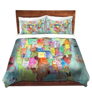 Artistic Duvet Covers and Shams Bedding | Marley Ungaro - United States MAP Turquoise