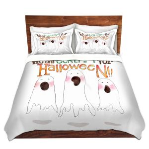Artistic Duvet Covers and Shams Bedding | Marley Ungaro - We All Scream | halloween Ghosts
