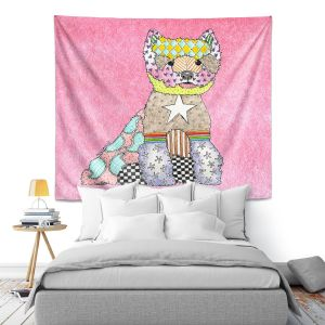 Artistic Wall Tapestry | Marley Ungaro - Westie Light Pink