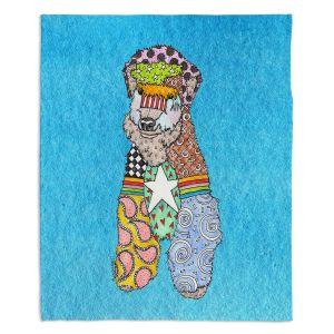 Artistic Sherpa Pile Blankets   Marley Ungaro - Wheaten Aqua   Pattern whimsical abstract