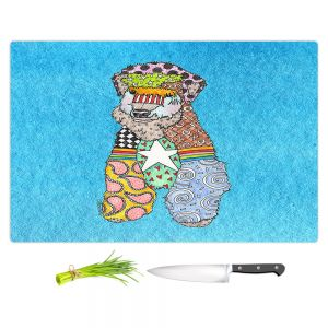 Artistic Kitchen Bar Cutting Boards | Marley Ungaro - Wheaten Aqua | Pattern whimsical abstract