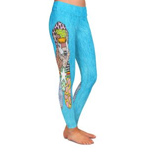 Casual Comfortable Leggings | Marley Ungaro - Wheaten Aqua | Pattern whimsical abstract