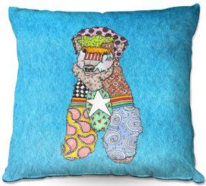 Throw Pillows Decorative Artistic   Marley Ungaro - Wheaten Aqua   Pattern whimsical abstract