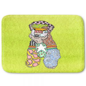 Decorative Bathroom Mats | Marley Ungaro - Wheaten Lime | Pattern whimsical abstract
