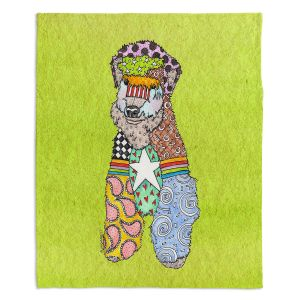 Decorative Fleece Throw Blankets | Marley Ungaro - Wheaten Lime | Pattern whimsical abstract