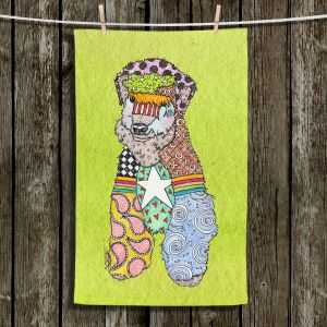 Unique Hanging Tea Towels | Marley Ungaro - Wheaten Lime | Pattern whimsical abstract
