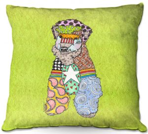 Decorative Outdoor Patio Pillow Cushion | Marley Ungaro - Wheaten Lime | Pattern whimsical abstract
