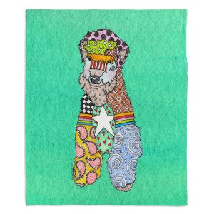 Decorative Fleece Throw Blankets | Marley Ungaro - Wheaten Teal | Pattern whimsical abstract