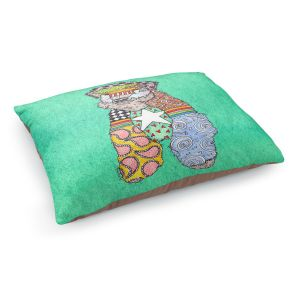Decorative Dog Pet Beds | Marley Ungaro - Wheaten Teal | Pattern whimsical abstract