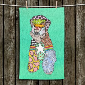 Unique Hanging Tea Towels | Marley Ungaro - Wheaten Teal | Pattern whimsical abstract