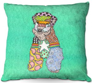 Throw Pillows Decorative Artistic | Marley Ungaro - Wheaten Teal | Pattern whimsical abstract