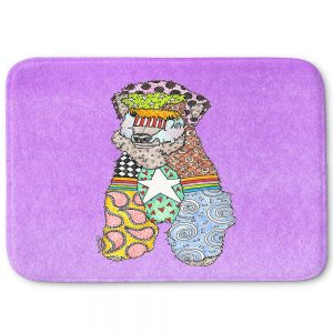 Decorative Bathroom Mats | Marley Ungaro - Wheaten Violet | Pattern whimsical abstract