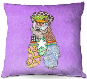 Throw Pillows Decorative Artistic | Marley Ungaro - Wheaten Violet | Pattern whimsical abstract