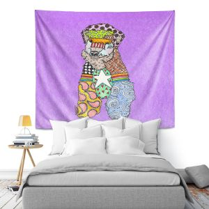 Artistic Wall Tapestry   Marley Ungaro - Wheaten Violet   Pattern whimsical abstract