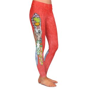 Casual Comfortable Leggings | Marley Ungaro - Wheaten Watermelon | Pattern whimsical abstract
