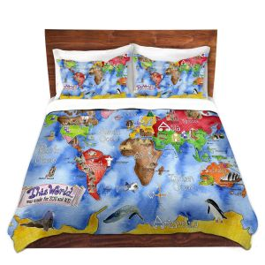 Artistic Duvet Covers and Shams Bedding | Marley Ungaro - This World Royal Blue MAP
