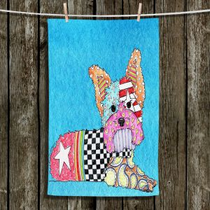 Unique Hanging Tea Towels | Marley Ungaro - Yorkie Dog Aqua | Abstract Colorful Yorkie Dog