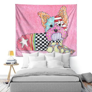Artistic Wall Tapestry | Marley Ungaro Yorkie Dog Light Pink