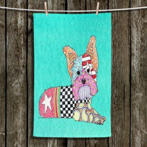 Unique Hanging Tea Towels | Marley Ungaro - Yorkie Dog Turquoise | Animal Dog Patterns