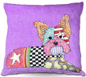 Throw Pillows Decorative Artistic | Marley Ungaro Yorkie Dog Violet