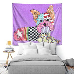 Artistic Wall Tapestry   Marley Ungaro Yorkie Dog Violet