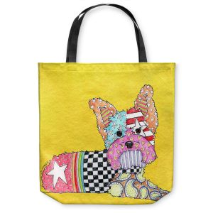Unique Shoulder Bag Tote Bags | Marley Ungaro Yorkie Dog Yellow