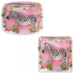 Round and Square Ottoman Foot Stools | Marley Ungaro - Zebra Raspberry