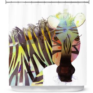 Unique Shower Curtain LONG 71w x 94h from DiaNoche Designs by Marley Ungaro - Zebra