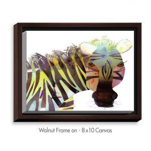 Decorative Canvas Walnut Frame 14x11 from DiaNoche Designs by Marley Ungaro - Zebra