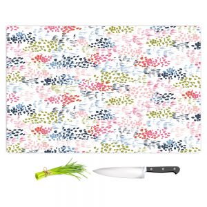 Artistic Kitchen Bar Cutting Boards | Metka Hiti - Abstract Dots and Lines | Floral Flowers pattern