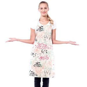 Artistic Bakers Aprons | Metka Hiti - Abstract Dots and Lines Mint | Floral Flowers pattern
