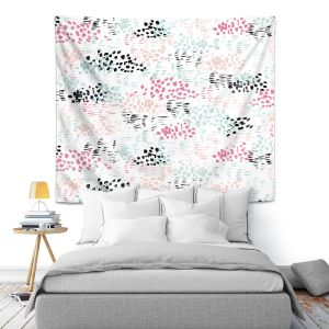 Artistic Wall Tapestry | Metka Hiti - Abstract Dots and Lines Mint | Floral Flowers pattern